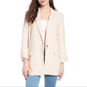 BP Cinch Sleeve Linen Blazer Long Jacket  Large